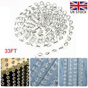 10M Acrylic Crystal Clear Garland Hanging Bead Curtain Wedding Club Party Decor