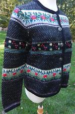 TALLY-HO Black LS Boiled Wool Cardigan Sweater Fair Isle Floral Designs Sz S