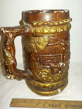 """Vintage Carnival Chalkware German Beer Stein 12.5"""" Tall Mexico Large Chalkware"""