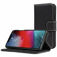 Snugg iPhone XS 2018 / iPhone X 2017 Legacy Leather Flip Cover Blackest Black BN