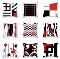 Fashion Red Geometry Print Sofa Cushion Cover Throw Pillow Case Home Decor