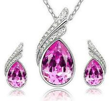 SALE Pink Crystal Water Drop, Silver Pendant/Necklace/Stud Earring Set