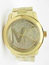 Michael Kors MK-5706 Gold Tone Runway MK Logo Dial Crystal Oversized Watch Gift