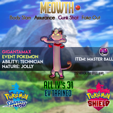 🌟Gigantamax Meowth w/ Master Ball🌟 31IV's Battle Ready - Pokemon Sword Shield