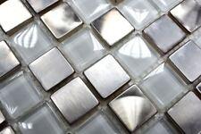 Mosaïque carreau acier inoxydable verre mosaïque clair 129-0104_8mm_b   1 plaque