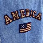 Vintage 90s Brindar USA America Flag Patriotic Denim Trucker Jacket Adult Small