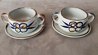 Two Vintage Handmade Clay Tea Cups and Saucers. Glazed with two Ears.