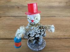 Vintage Pine Cone Snowman Decorative Figure ( Made In Japan )