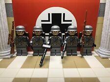 5x WWII LEGO German Panzergrenadiers w/ Kar98, Panzerfaust, MG34,MP40, Gewehr 98