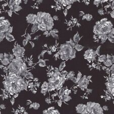100% Cotton Poplin Printed Floral Black Pattern Fabric Dress Quilting Material
