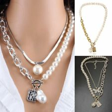 2 Layers Pearls Geometric Fashion Pendants Women Metal Snake Necklace Jewelry