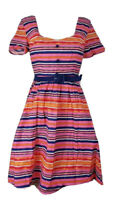 ModCloth Womens Dress Pink Stripe Lined Buttons Zip Sweetheart Neck Belted M New