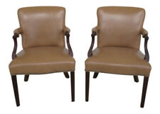 L45389EC: Pair Of Tan Leather Mahogany Open Arm Chairs