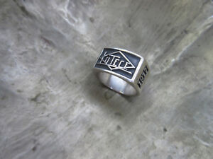 Vintage Lutece Mfg Co 1917 Ring 925 Sterling Rockabilly Nose Art Hotrod V8 USA