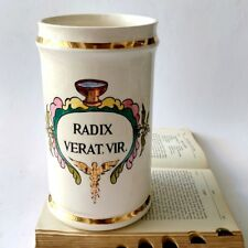 Vintage Robinette RADIX VERAT. VIR. Ceramic Drug Store Jar Pharmacy Painted Art