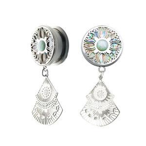 1pc SHELL Teardrop Silver Opal Fancy Steel Earring Tunnel Double Flare Ear Plug