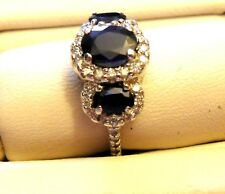 Sapphire & Diamond Ring, Sz 5.25 Appraised Ladies 14K White Gold Natural Blue