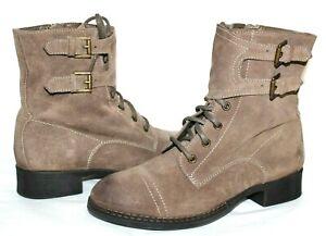 ❤️ SEYCHELLES Spain Cap-Toe Taupe Suede Monk-Strap Zip Lace-Up Boots 8 M L@@K!06