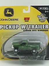 1/64 ERTL JOHN DEERE GREEN FORD F-350 DEALER PICKUP W/ TRAILER