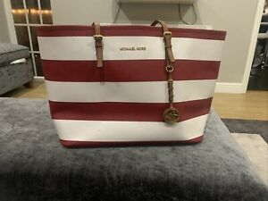 Michael Kors Red and white stripes extra large shoulder tote bag