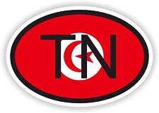 TUNISIA TN AFRICA Oval Country Code Flag Sticker Bumper Bike Scooter Laptop Car