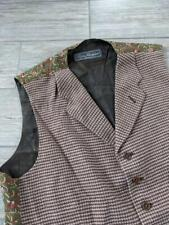 SALVATORE FERRAGAMO waistcoat TWEED wool LARGE 44-46 brown ITALY lapel vest