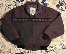 Vtg Santa Fe Trail Men's Southwest Navajo Aztec Jacket Wool/Felt Lined Sz XL