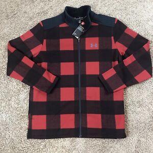 Under Armour Field Fleece Full Zip Jacket Storm Red Plaid Men's XL *New