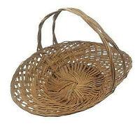 "Wicker Woven Basket Flower Garden Gathering Centerpiece Basket 17"" long Vtg"