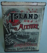 "VERY HTF ""ISLAND MIXTURE"" VERTICAL BOX ADVERTISING TOBACCO TIN NEAR MINT GRAPHIC"