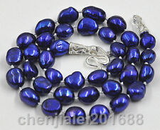"""New 8-9mm blue baroque freshwater cultured pearl Necklace 17"""" enamel clasp"""