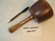 More details for lovely old vintage woodcarvers hardwood mallet genuine old tool use or collect