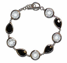 """Stamped 925 Sterling Silver, Black & White Gem Set 7.5"""" Bracelet - Was £50"""