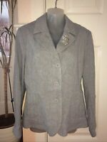 Per Una Marks & Spencer Grey Linen Blend Jacket With Brooch 16 New Tags RRP: £55