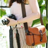 Vintage Brown Camera Leather Shoulder Bag For Canon 550D Nikon DSLR Case Hot