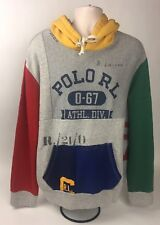 Polo Ralph Lauren LIMITED EDITION Patchwork Stadium Varsity Hoodie Size LARGE