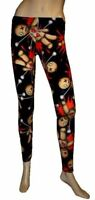 NEW LADIES BLACK VOODOO DOLL PRINT LEGGINGS PANTS GOTH PUNK EMO HALLOWEEN