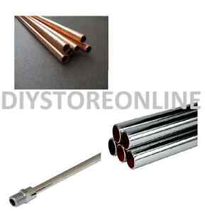 Copper Chrome Pipe 8mm 10mm 15mm 22mm 28mm Plumbing 1 Metre Lengths, Water, Gas
