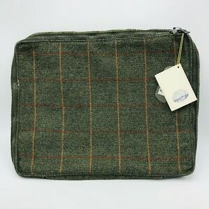 Maharishi Moon Luxury Fabric England Laptop Sleeve Herringbone Woodland Green