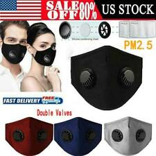 Reusable Breathing Double Valve Face Mask Washable & PM2.5 Filter Air Respirator