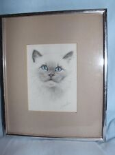 cat drawing signed Virginia Miller matted silver frame 12 1/2 x 10 1/2 inches