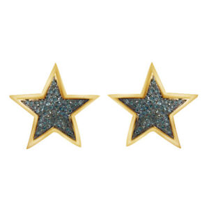 0.30 Ct Round Cut Blue Simulated 10K Yellow Gold Over Silver Star Stud Earrings