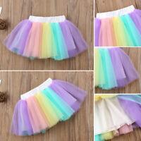 Kids Baby Girls Princess Dress Rainbow Tulle Tutu Skirt Ballet Dancewear Summer