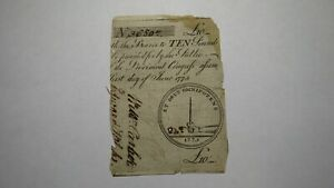 1775 Ten Pounds South Carolina SC Colonial Currency Note Bill! Revolutionary War