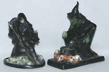 Halloween Vintage Blow Mold Plastic Witch Cauldron Skulls Death Dealer x2 Set