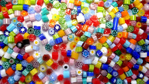 Vintage Millefiori Beads-New Old Stock 3 oz. approx 500 pcs. 4 mm beads, Murano