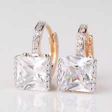 Women Swarovski Crystal 18k Multi-Tone Gold Filled Stud Hoop Earrings Jewellery