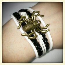 5 Strand Bracelet Cuff Spider B&W Black White Arachnid