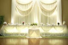 Voile Draping Sheer Chiffon Wedding Curtain Backdrop - 8ft H x 10ft W - Ivory