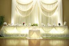 "VOILE CHIFFON SHEER WEDDING CURTAIN 10ft DRAPE PANEL BACKDROP 120"" x 118"" IVORY"